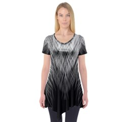 Feather Graphic Design Background Short Sleeve Tunic