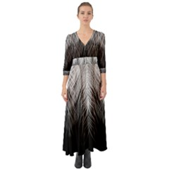 Feather Graphic Design Background Button Up Boho Maxi Dress