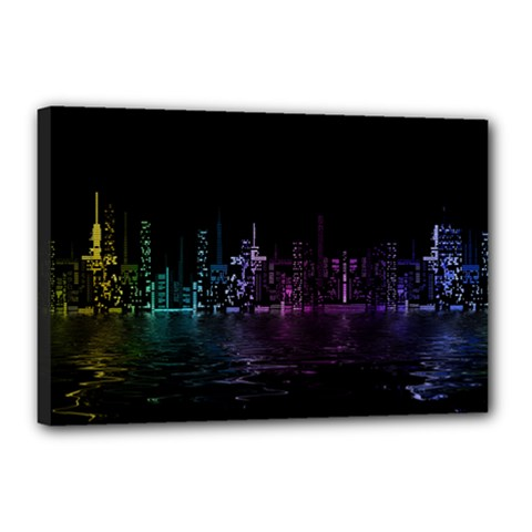 City Night Skyscrapers Canvas 18  X 12