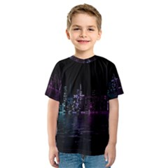 City Night Skyscrapers Kids  Sport Mesh Tee