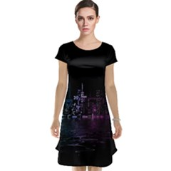 City Night Skyscrapers Cap Sleeve Nightdress