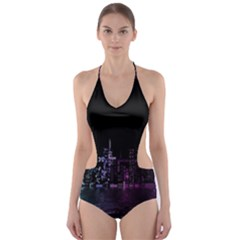 City Night Skyscrapers Cut Out One Piece Swimsuit