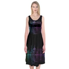 City Night Skyscrapers Midi Sleeveless Dress