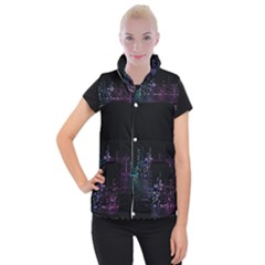 City Night Skyscrapers Women s Button Up Puffer Vest