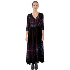 City Night Skyscrapers Button Up Boho Maxi Dress