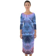 Sacred Geometry Mandelbrot Fractal Quarter Sleeve Midi Bodycon Dress