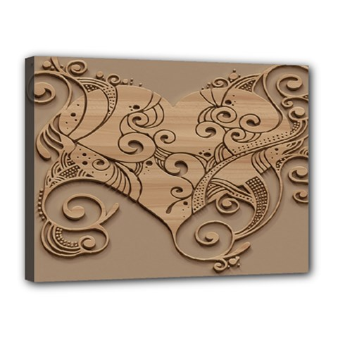 Wood Sculpt Carved Background Canvas 16  X 12