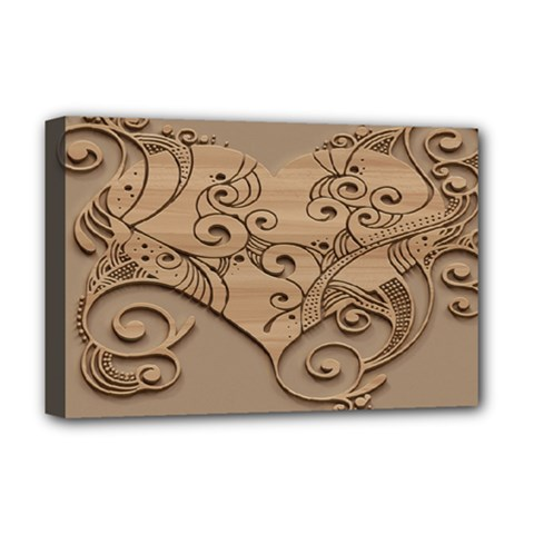 Wood Sculpt Carved Background Deluxe Canvas 18  X 12