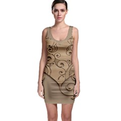 Wood Sculpt Carved Background Bodycon Dress