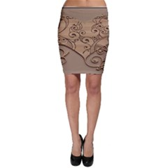 Wood Sculpt Carved Background Bodycon Skirt
