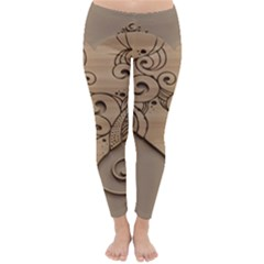 Wood Sculpt Carved Background Classic Winter Leggings