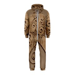 Wood Sculpt Carved Background Hooded Jumpsuit (kids)