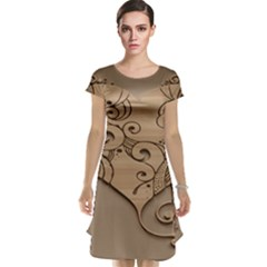Wood Sculpt Carved Background Cap Sleeve Nightdress