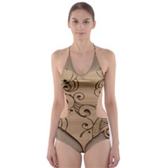 Wood Sculpt Carved Background Cut Out One Piece Swimsuit