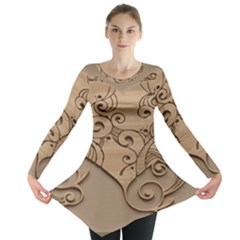 Wood Sculpt Carved Background Long Sleeve Tunic