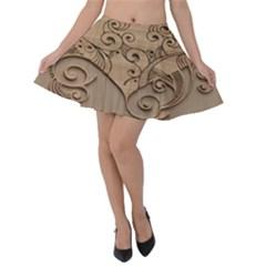 Wood Sculpt Carved Background Velvet Skater Skirt