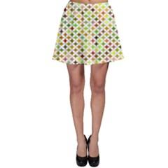 Background Multicolored Star Skater Skirt
