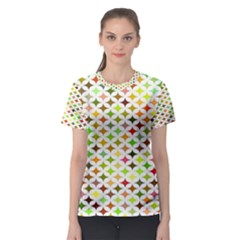 Background Multicolored Star Women s Sport Mesh Tee