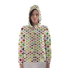Background Multicolored Star Hooded Wind Breaker (women)