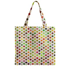 Background Multicolored Star Zipper Grocery Tote Bag