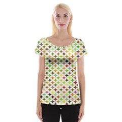 Background Multicolored Star Cap Sleeve Tops