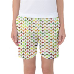 Background Multicolored Star Women s Basketball Shorts