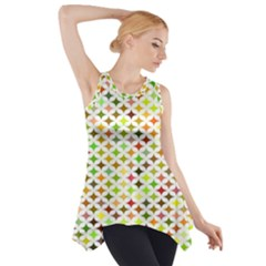 Background Multicolored Star Side Drop Tank Tunic
