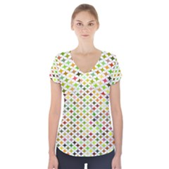Background Multicolored Star Short Sleeve Front Detail Top