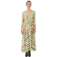 Background Multicolored Star Button Up Boho Maxi Dress