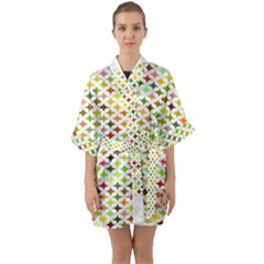 Background Multicolored Star Quarter Sleeve Kimono Robe