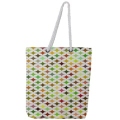 Background Multicolored Star Full Print Rope Handle Tote (large)