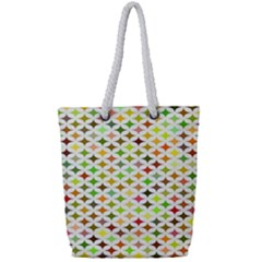 Background Multicolored Star Full Print Rope Handle Tote (small)