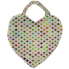 Background Multicolored Star Giant Heart Shaped Tote