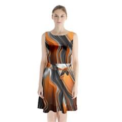 Fractal Structure Mathematics Sleeveless Waist Tie Chiffon Dress
