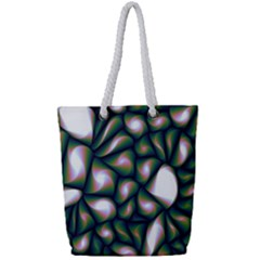 Fuzzy Abstract Art Urban Fragments Full Print Rope Handle Tote (small)