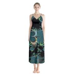 Fractal Art Artwork Digital Art Button Up Chiffon Maxi Dress