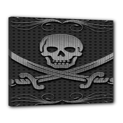 Skull Metal Background Carved Canvas 20  X 16