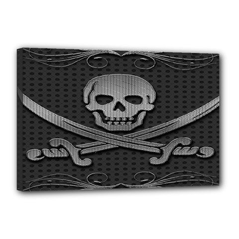 Skull Metal Background Carved Canvas 18  X 12