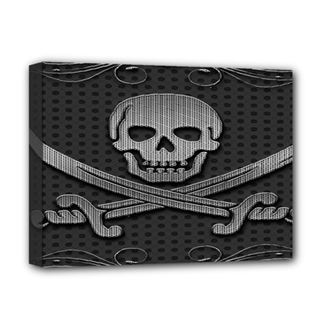 Skull Metal Background Carved Deluxe Canvas 16  X 12