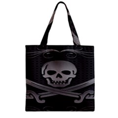 Skull Metal Background Carved Zipper Grocery Tote Bag
