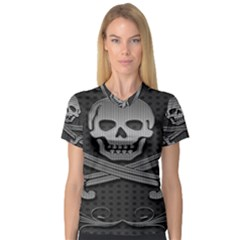 Skull Metal Background Carved V Neck Sport Mesh Tee