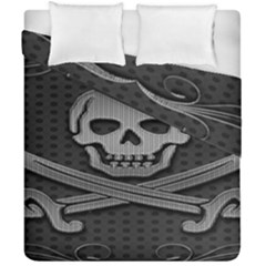 Skull Metal Background Carved Duvet Cover Double Side (california King Size)