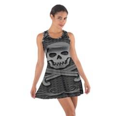 Skull Metal Background Carved Cotton Racerback Dress