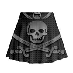 Skull Metal Background Carved Mini Flare Skirt