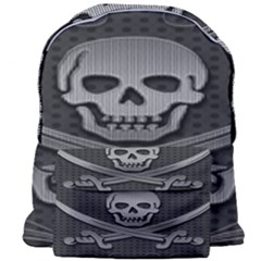 Skull Metal Background Carved Giant Full Print Backpack