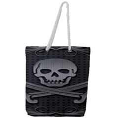 Skull Metal Background Carved Full Print Rope Handle Tote (large)