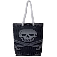 Skull Metal Background Carved Full Print Rope Handle Tote (small)