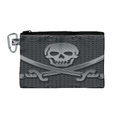 Skull Metal Background Carved Canvas Cosmetic Bag (medium)