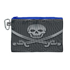 Skull Metal Background Carved Canvas Cosmetic Bag (large)