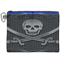 Skull Metal Background Carved Canvas Cosmetic Bag (xxl)